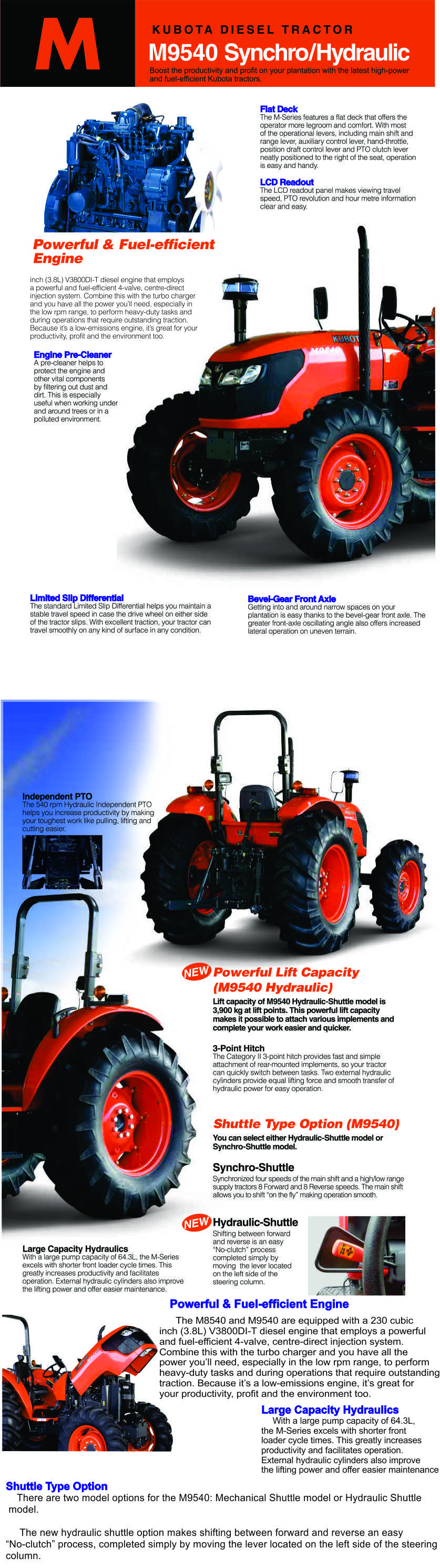 Machine Kubota tractor M-9540 high quality good price from Japan